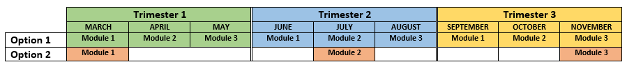 A table of the different scheduling options. Option 1 is completing all three modules in one trimester. Trimester 1 is March, April and May. Trimester 2  is June, July and August. Trimester 3 is September, October and November. Option two is to complete one module in each trimester so module 1 in march, module 2 in July and module 3 in November.